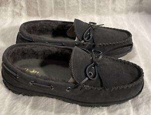 Clarks Suede Men's Faux Fur Lined Moccasin Slipper, Gray Size 11