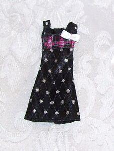 New MATTEL GENUINE MONSTER HIGH SILVER & BLACK GOTH DRESS CLOTHES FOR GIRL DOLLS