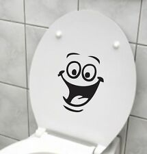 Smiley FaceToilet Decal Wall Mural Art Decor Funny Bathroom WC Sticker-1+1FREE`