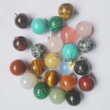 Mixed Natural Stone Round Ball Bead Pendants Charms 50pcs for Jewelry Making