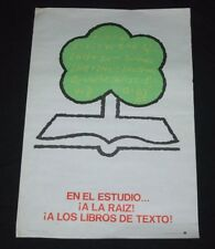 1972 Cuban Original Poster.In your studies…to the roots!The textbooks!School Art