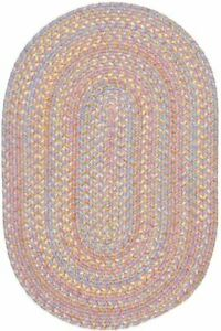 Playtime Soft Textured Polypropylene Kids Playroom Braided Rug Pink Multi PT08