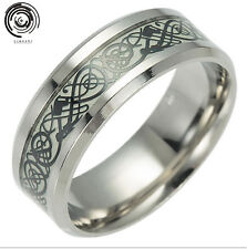 Unisex Men&Women stainless steel Size 6-13 Dragon Luminous Gothic Rings Jewelry