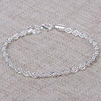 Damen Armreif Armkette Kette Armband Gedreht Silber Plattiert Schmuck Geschenk