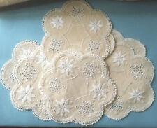 6 X Antique Irish Linen Cloth Crocheted Edged Dark Cream White Doilies Mats (e)
