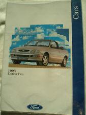 FOLLETO de rango de Ford 1993 Ed 2 Fiesta, Escort, Mondeo, Orion, Granada, Scorpio