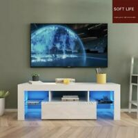 Modern High Gloss TV Unit Cabinet Stand with LED Lights Shelves Home White NEW