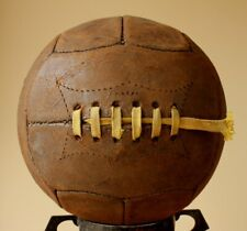 Antique Brown Leather 12 Panel Football. Vintage Laced Soccer Ball. c1920 / 1930