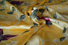 100% Pure Silk Fabric Golden Flower 45 INCHES Width Floral Printed  By Yard P041