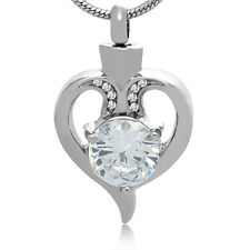 Open Heart Cremation Necklace Ashes Jewelry Keepsake CZ Funeral Memorial