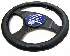 Black Leather Blue Stitching Steering Wheel Cover Glove Protector Car / Van