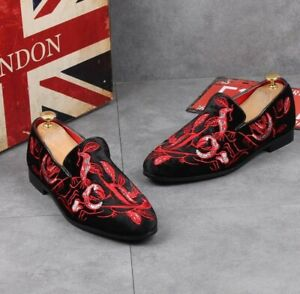 Mens Embroidered Loafers Pointy Toe Slip On Casual Suede Moccasins Pumps Shoes