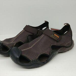 Crocs Swiftwater Sandals Espresso Brown Mesh Deck Men's Size 12