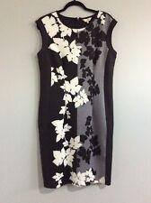 CAPTURE Black and white print stretch bodycon dress Sz 14 Ladies