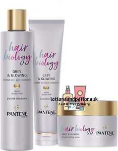 Pantene Hair Biology GREY / SILVER AND GLOWING PURPLE Shampoo Conditioner Mask