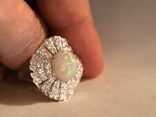 Solid SS 925 LARGE Opal and Diamond Cut White Sapphire Cocktail Ring-6.37 grams
