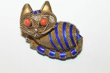 Rare Vintage Chinese Gold Wash Sterling Silver Mesh & Enamel Cat Brooch Pin
