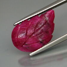 6.58 Carats Natural Red RUBY Leaf Carving for Jewelry Setting