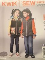 Kwik Sew Pattern K3975 Jacket Vest Boys Girls Detachable Hood Sz XS-XL Uncut