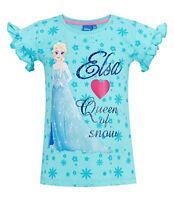 Girls Kids Official Disney Frozen Elsa Blue Short Sleeve T Tee Shirt Top