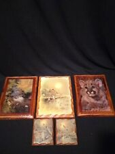 Lot of 5 Decorative Wooden Pictures Vintage