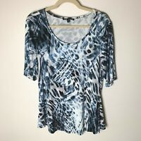 Cable & Gauge Women's Top Size Large Short Elbow Sleeves Casual Black Blue White