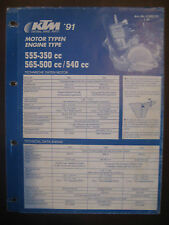 KTM 1991 Part Number Diagram Poster Engine Type 555 - 350 cc 565 - 500 cc / 540
