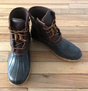 Women's Sperry Brown Saltwater Slip-On Waterproof Rubber Boots Size 9.5 M