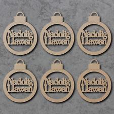 Nadolig Llawen Baubles x6 - Wooden Laser Cut MDF Craft Shapes