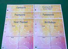 A5 Filofax Organiser Paper Bubble Set - Finance, Passwords, Payments - 21 Pages
