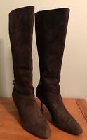 Ann Taylor Brown Leather Suede Zip Knee High Heel Boots Womens Size 7 M