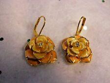 Joan Rivers Peach Color Enamel crystal Rose Flower Cabbage Lever Earrings gold