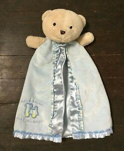 Carters Baby Lovey Tan Bear Rattle Blue Satin Thank Heaven for Little Boys Train