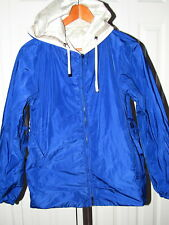 'S Max Mara Blue Metallic Beige Reversible Raincoat Jacket 12