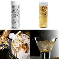 1 Jar Edible Gold Silver Leaf Foil Paper Flakes Cake Toppers F. Drink Food Cream