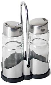 Glass Salt & Pepper Set in Chrome Stand Salt Shaker & Pepper Shaker