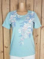 CORAL BAY Womens Size Small Short Sleeve Shirt Floral Print Cotton/Poly Blue Top