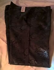 Tinsel Town Couture Pants Wet Look Black W/Flowers Size 15