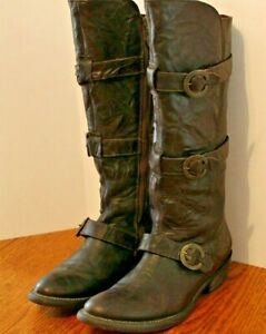 ARIAT TALL LEATHER  KNEE BOOT SIDE ZIPPER BROWN SIZE 8.5