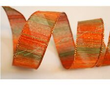 "5 Yards Orange Green 1 1/2"" Wired Ribbon Fall Thanksgiving 5 yds"