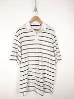 Ralph Lauren Golf Polo Shirt Men XL White Red Striped Pima Cotton Soft