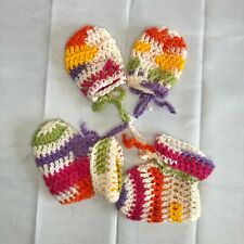 Hand crafted Crocheted Baby Booties and Mittens Multicolor NEW