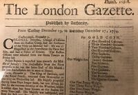 US REVOLUTIONARY WAR ERA NEWSPAPER CLIPPING DATED 1774