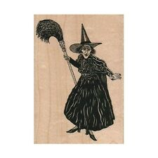 NEW Large Wicked Witch With Broom RUBBER STAMP, Halloween Stamp, Wizard of Oz