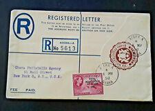 1958 Accra Ghana To New York New York Registered Letter Cover