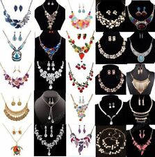 Women Chain Pendant Crystal Pearl Choker Bib Statement Necklace Earrings Set