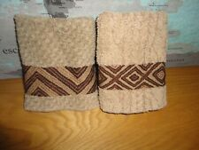 RALPH LAUREN BROWN TAN SOUTHWESTERN TRIBAL (2PC) WASHCLOTHS SUPIMA COTTON 11X12