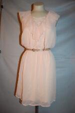 Jr Womens PEACH CHIFFON DRESS Sleeveless V-NECK Ruffle BELTED Loose Fit XL 15-17