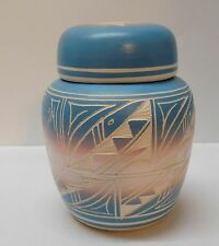 Pottery Jar with Lid Carved Southwestern Designs Blue Pink Handcrafted Signed