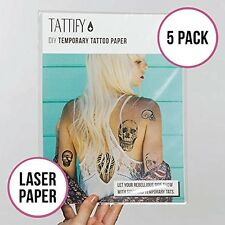 Tattify DIY Temporary Tattoo Paper 5 Pack For Laser Printers, Printable Long Las